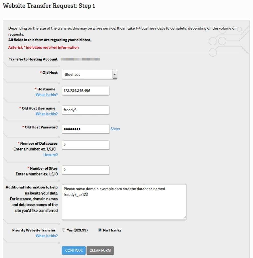 website transfer form on inmotion hosting