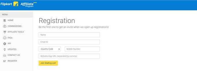 Flipkart affiliate signup form